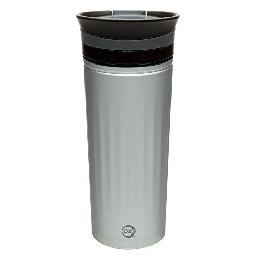 Zak! Designs Insulated Fluted Travel Tumbler in Lunar Silver, BPA-free, Lightweight and Durable Stainless Steel, Double Wall Construction and Leak-proof Slide Lid, 16 oz. Capacity