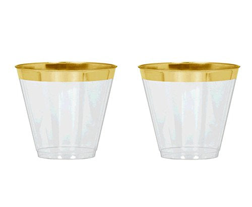 48 Count Gold Rimmed Clear Plastic Tumblers 9 oz capacity | Perfect for Weddings, Holidays and Parties