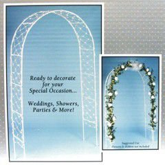 Traditional White Wedding Arch Party Decoration, Metal, 8'