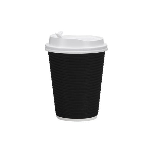 PREMIUM Disposable Hot Paper Cups With Lids, Double Wall & Ripple Insulation For Heat Protection, Black, 30 Count - 12 oz
