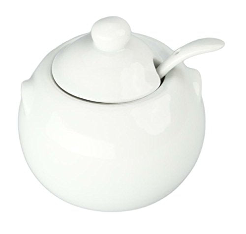 Bia Cordon Bleu 904028 White Porcelain Sugar Bowl With Cover and Spoon
