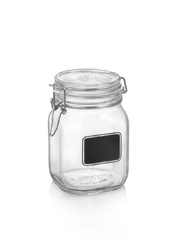 Bormioli Rocco Fido Square Clear Jar with Chalkboard, 33-3/4-Ounce