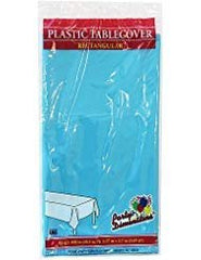 Plastic Party Tablecloths - Disposable, Rectangular Tablecovers - 8 Pack - Island Blue - By Party Dimensions