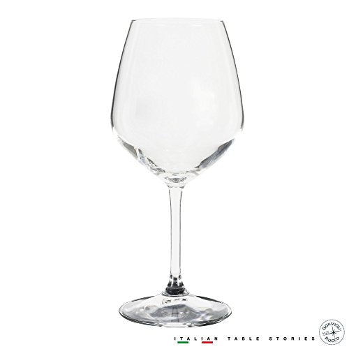 Bormioli Rocco 18oz Red Wine Glasses (Set Of 4): Crystal Clear Star Glass, Laser Cut Rim For Wine Tasting, Lead-Free Cups, Elegant Party Drinking Glassware, Dishwasher Safe, Restaurant Quality