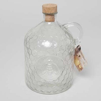 Set of 2 Circleware Honey Bee 2 Liter Glass Jug Pitchers with Cork Stoppers!