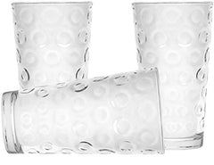 Circleware 40185 Circle Set of 8, 15.75 oz, Highball Beverage Drinking Glasses Heavy Base Tumbler Cups for Water, Juice, Milk, Beer, Ice Tea 8pc