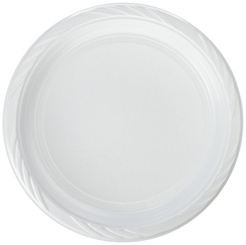 "Blue Sky 100 Count Disposable Plastic Plates, 10"", White"