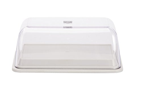 Zak Designs Colorways Plastic Butter Dish, Eggshell White