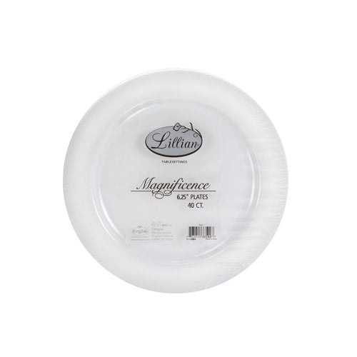 Premium Quality Heavyweight Plastic Plates China Like. Wedding and Party Dinnerware Plastic Plates 6.25 inc White/Pearl-Value Pack 40 Count