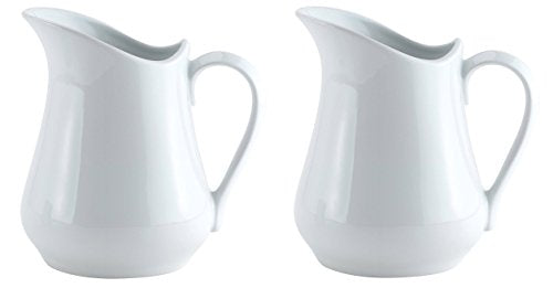 HIC Creamer Pitcher with Handle, Fine White Porcelain, 8-Ounces, Set of 2