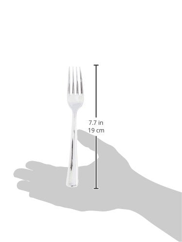 Plastic Cutlery Silverware Extra Heavyweight Disposable Flatware, Full Size Plastic Forks Like Silver, 24 Pack