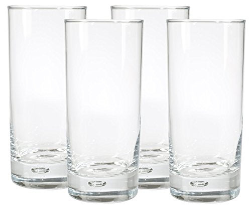 Home Essentials Red Series 17 Oz. Bubble-bottomed Round Cut Highball Drinking Glasses, Set of 8