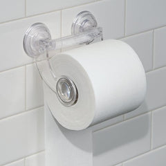 InterDesign Power Lock Toilet Paper Holder - Suction Roll Dispenser for Bathroom, Clear