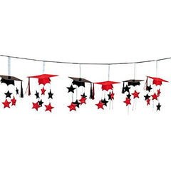 School Colors Graduation Party 3-D Mortarboard and Stars Foil Garland Decoration, Apple Red and Black, Foil, 12 Feet