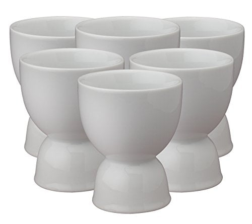 Traditional Soft Boiled Egg Cups, Fine Porcelain, White, Set of 6 (Double Sided Egg Cups)