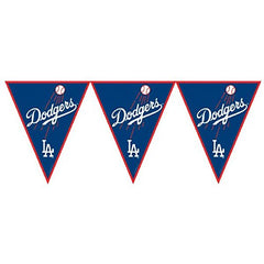 Amscan Major League Baseball Licensed Los Angeles Dodgers Pennant Banner Party Decoration, Plastic, 12'