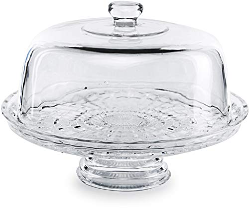 "Circleware 54041 Chiffon Glass Cake Plate with Dome Home and Kitchen Glassware Entertainment Food Serving Platter Stand for Fruit, Ice Cream, Dessert, Salad, Cheese, Candy, 12"" x 8.5"", Clear"