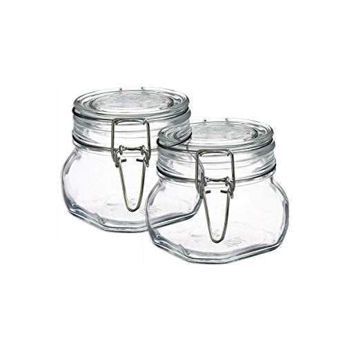 Bormioli Rocco Set OF 2 Fido Square Clear Jar, 17 1/2 Ounce