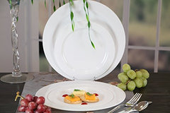 Premium Quality Heavyweight Plastic Plates China Like. Wedding and Party Dinnerware Plastic Plates 9 inch, White Pearl - Value Pack 30 Count