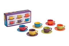 BIA Cordon Bleu 4-Ounce Espresso Cup and Saucer, Set of 6, Assorted Colors