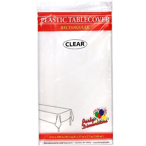 Plastic Party Tablecloths - Disposable, Rectangular Tablecovers - 8 Pack - Clear - By Party Dimensions