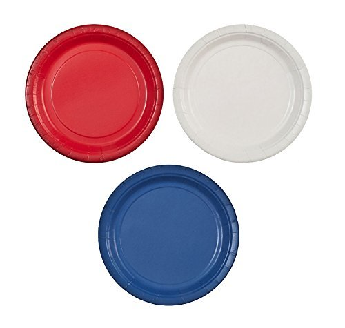 "Party Dimensions 7"" Paper Plate Bundle: Red, White & Blue - 72 Plates Total"