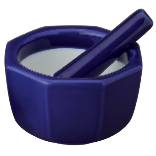 HIC Octagonal Mortar and Pestle Spice Herb Grinder Pill Crusher, Fine-Quality Porcelain, Cobalt, 4.875 Inch