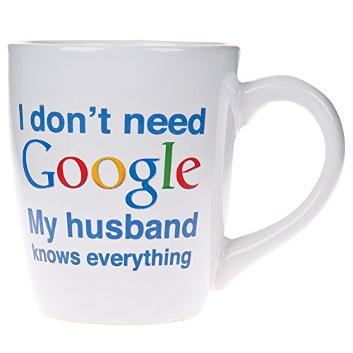 Home Essentials 77464-HE, I Don't Need my husband  Google Coffee Cup, White