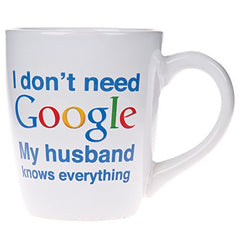 Home Essentials 77464-HE, I Don't Need Google Coffee Cup, White