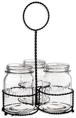 Home Essentials & Beyond Mason Jar Flatware Silverware Kitchen Utensil Dinnerware Tableware Holder Caddy in Wire Basket Ideal for Kitchen, Dining, Entertaining, Tailgating, Picnics Set of 3