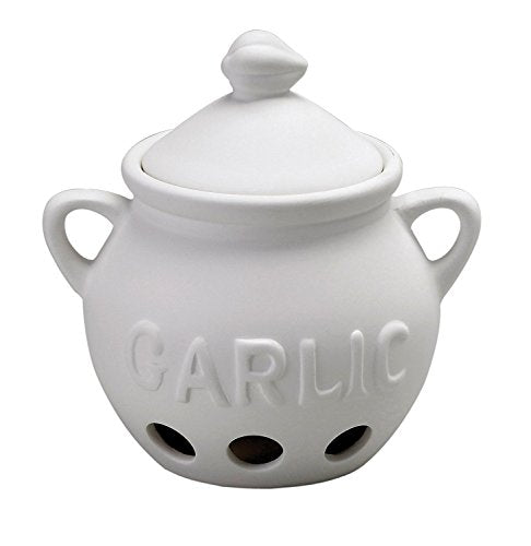 "HIC Harold Import Co. Garlic Clove Keeper White Vented Ceramic Storage Container With Lid, 5.25"" x 5.5""/16 oz"