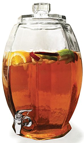 Circleware Cranston Beverage Dispenser with Glass Lid, Sun Tea Jar with Spigot Entertainment Kitchen Glassware Drink Water Pitcher for Juice, Wine, Kombucha and Cold Drinks, Clear, Huge 3 Gallon