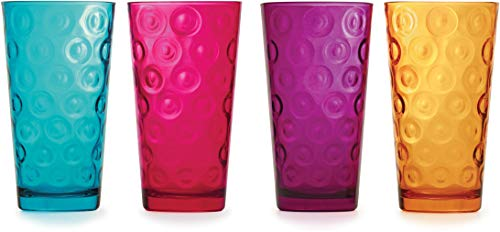 Circleware 44299 Circle Tumbler Colored Cooler Beverage Glasses, Aqua, Fuchsia, Orange, Purple Set of 4-17 oz, Heavy Base Drinking Highball, Home Kitchen Cups for Water, Juice, Milk, Beer, Ice Tea 4pc