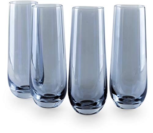 Circleware 76840 Radiance Stemless Champagne Flute Glasses Set of 4, Elegant All-Purpose Wine Drinking Glassware Beverage Cups for Water, Juice, Beer, Liquor, Whiskey & Bar Decor, 10.5 oz, Blue Pearl
