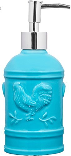 Aqua Ceramic Rooster Soap Dispenser- Lotion Dispenser for Kitchen or Bathroom Countertops