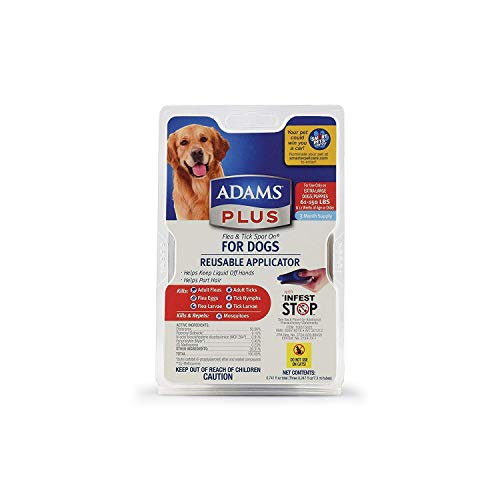 Adams Plus Flea and Tick Spot On for Dogs, Extra Large Dogs 61-150 Pounds, 3 Month Supply, with Applicator Product ID: 039079021623
