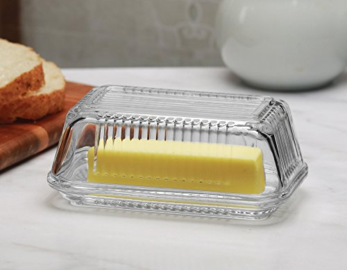 "Circleware Farm Glass Butter Dish with Glass Lid, Multi-Purpose Preserving Serving Dessert Dish Tray, 6.75"" x 4"", Glassware for Cream Cheese, Cake, Salad, Candy, Foods & Best Selling Gift Ideas"