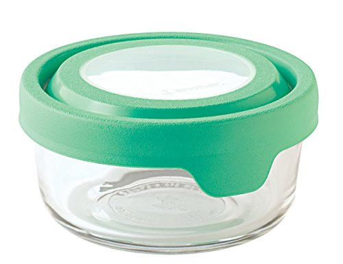 Anchor Hocking TrueSeal Glass Food Storage Container with Airtight Lid, Light Green, 1 Cup