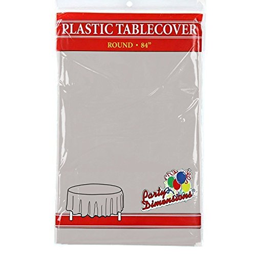 "Silver Round Plastic Tablecloth - 4 Pack - Premium Quality Disposable Party Table Covers for Parties and Events - 84"" - By Party Dimensions"
