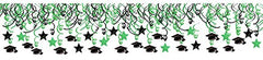 School Colors Graduation Party Swirls With Mortarboards and Diplomas Ceiling Decorations Mega Value Pack, Green and Black, Plastic, Pack of 30