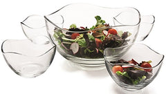 "Circleware 55635 Gala Set of 5, Glass Serving Mixing Bowls Set, Glassware for Fruits, Salad Punch, Beverage, Dessert, Food and Best Selling Décor Gifts, 1-10"" D, 4-5.25"" D, 5pcGala"