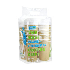 PREMIUM Disposable Hot Paper Cups With Lids, Double Wall & Ripple Insulation For Heat Protection, Tan, 30 Count - 16 oz.