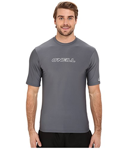 Oceanic O'neill Men's UV Sun Protection Short Sleeve Rash Guard Tee, Solid Grey, Large
