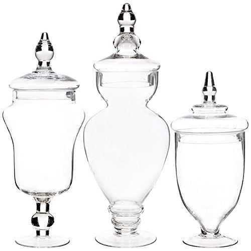 Home Essentials & Beyond 3126 Home Essentials Set of 3 Apothecary Jars, 12, 15, 16, 12,15, Clear