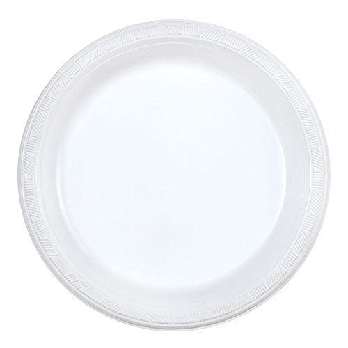 Party Dimensions 200 Count Plastic Plate, 9-Inch, White, Club Pack
