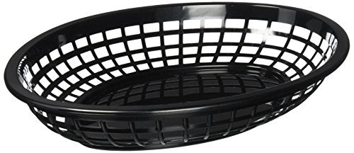 TABLECRAFT (1084BK) - OVAL PLASTIC SERVING BASKET, BLACK (PACK OF 12)