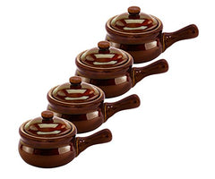 HIC Harold Import Co. Individual Brown Ceramic Stoneware 14 oz French Onion Soup Crock Chili Bowls (Set Of 4)