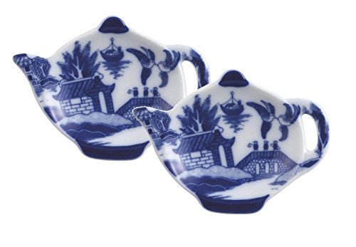 HIC Harold Import Co. YK-404B/2 Blue Willow Tea Bag Holder Caddy, Fine-Quality Porcelain, 3.5-Inches, Set of 2