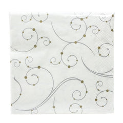 "Hanna K. Signature Collection 75 Count ""Swirls & Pearls"" Paper Beverage Napkin"