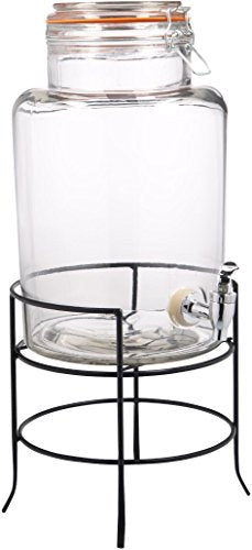 Home Essentials & Beyond 1.5 gallon Bail & Trigger Beverage Dispenser with Rack, Clear